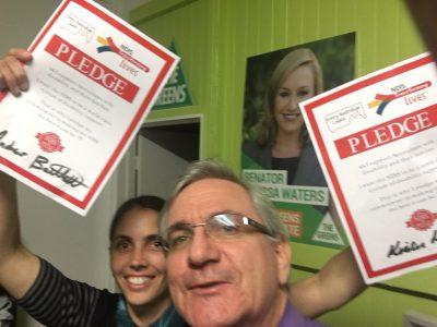 Kirsten Lovejoy, Greens for Brisbane and Andrew Bartlett, Greens Senate for Queensland